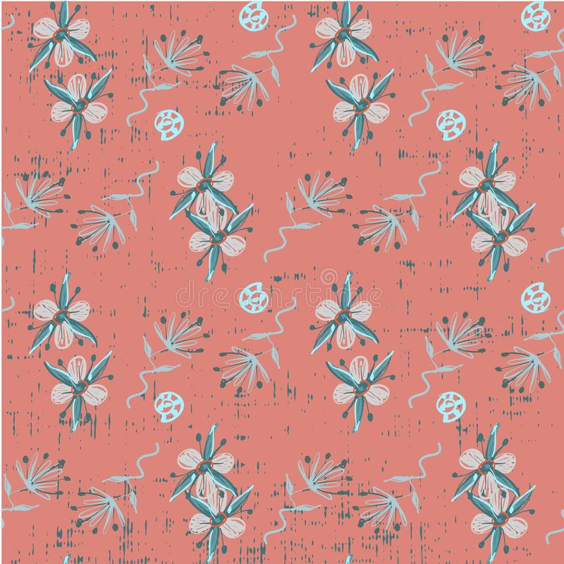 Leuk mooi naadloos bloemenpatroon op grungehand als achtergrond die in de vector kinderachtige illustratie van de jong geitjestij stock illustratie
