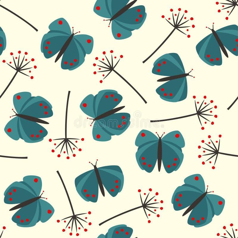 Leuk naadloos aardpatroon met vlinder en paardebloem royalty-vrije illustratie