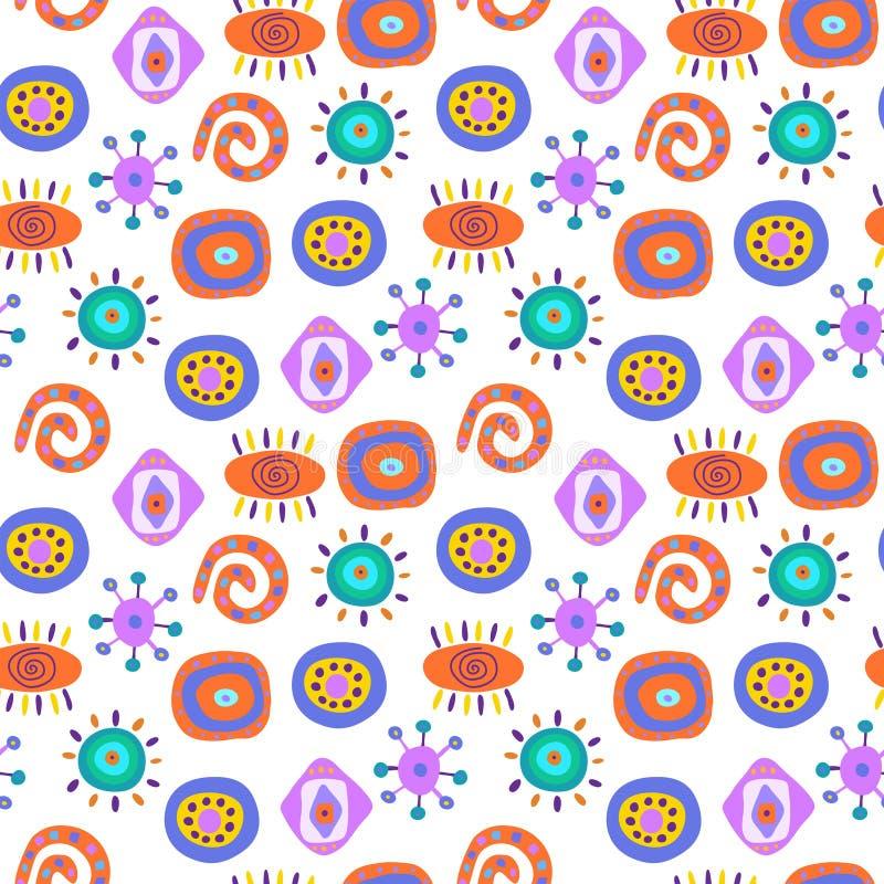 Leuk naadloos abstract patroon met etnische elementen royalty-vrije illustratie