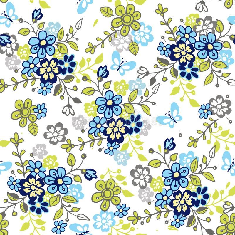 Leuk naadloos bloemenpatroon met vlinders Kleurrijke de lenteachtergrond voor stof, textiel, verpakkend document vector illustratie