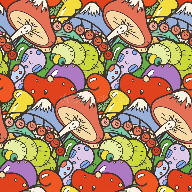 Leuk naadloos bospatroon met paddestoelen Nice voor drukken, ontwerp, kleuringen, kaarten, textiel vector illustratie