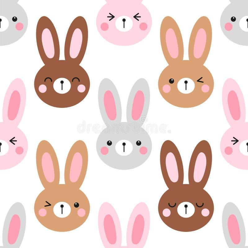 Leuk naadloos het patroonontwerp van Pasen met grappige beeldverhaalkarakters van emojikonijntjes vector illustratie