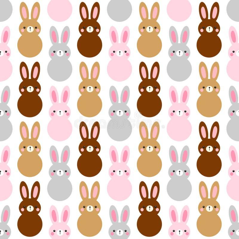 Leuk naadloos het patroonontwerp van Pasen met grappige beeldverhaalkarakters van konijntjes royalty-vrije illustratie