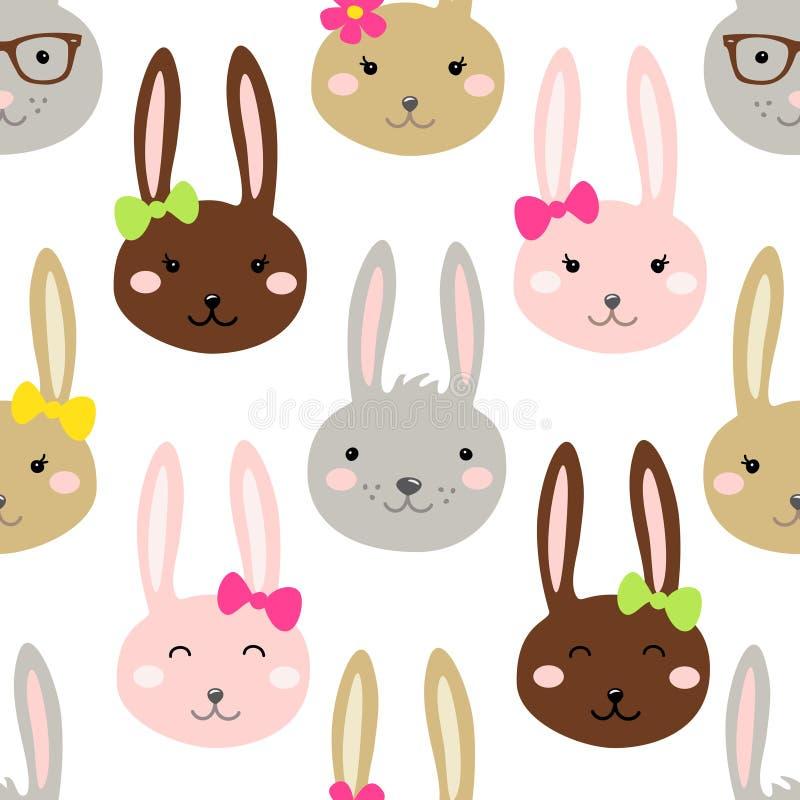 Leuk naadloos het patroonontwerp van Pasen met grappige beeldverhaalkarakters van konijntjes vector illustratie