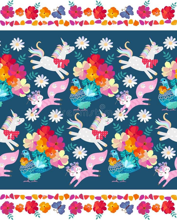 Leuk naadloos horizontaal patroon met fantasiedieren en vogels en decoratief bloemenkader Eenhoorn, weinig vos en duif royalty-vrije illustratie