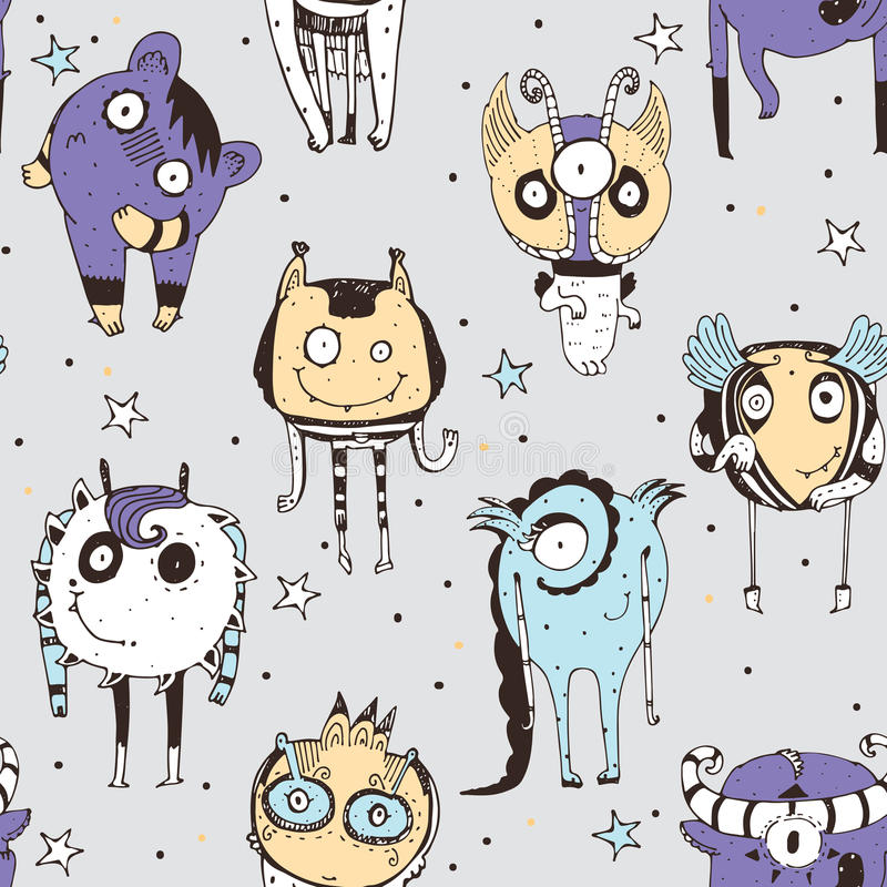 Leuk naadloos krabbelpatroon met mooie hand getrokken monsters, punten en sterren op grijze achtergrond Vectorillustratie met vre stock illustratie