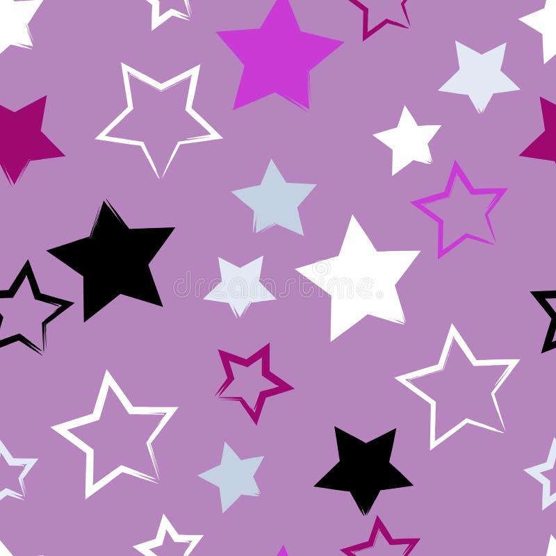 Leuk naadloos patroon Borstelslagen, sterren De eindeloze textuur kan voor druk op stof of document worden gebruikt royalty-vrije illustratie