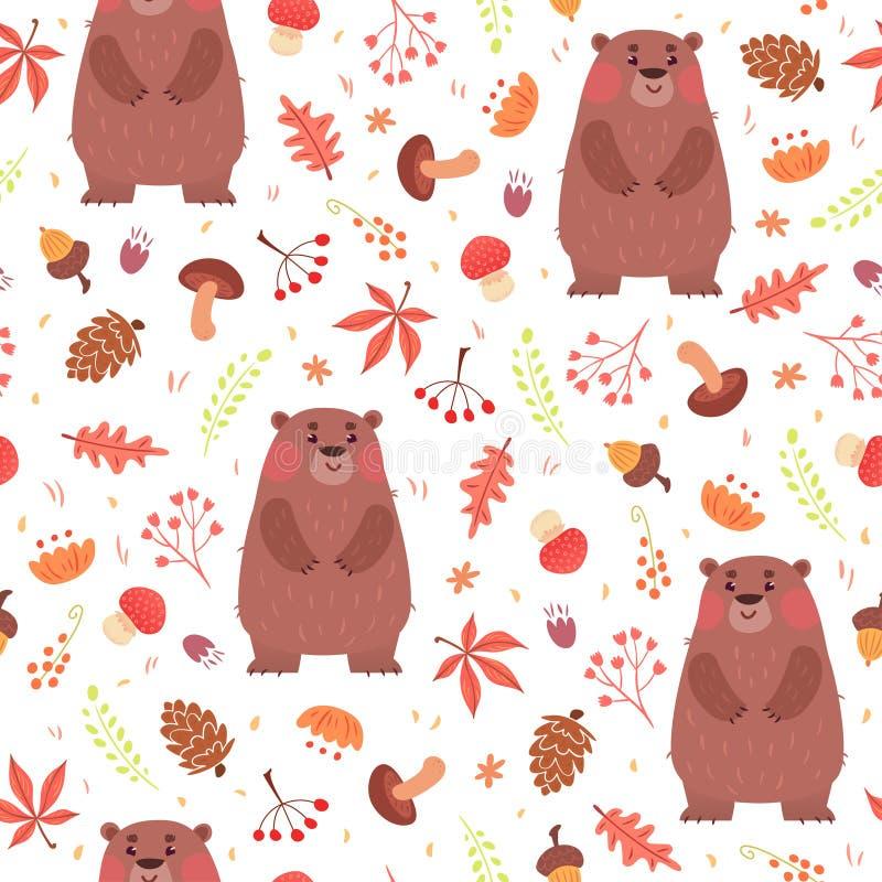 Leuk naadloos patroon met beren in bos royalty-vrije illustratie