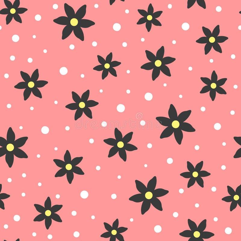 Leuk naadloos patroon met bloemen en ronde punten royalty-vrije illustratie