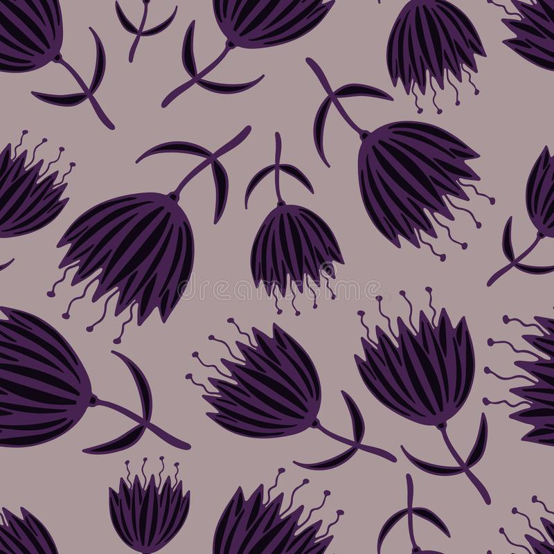 Leuk naadloos patroon met hand-drawn fantasiebloemen royalty-vrije illustratie
