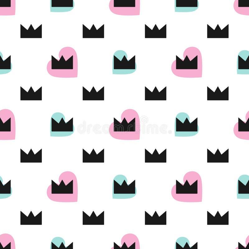 Leuk naadloos patroon met harten en kronen Vector illustratie stock illustratie
