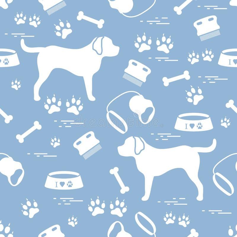 Leuk naadloos patroon met hondsilhouet, kom, sporen, been, B stock illustratie