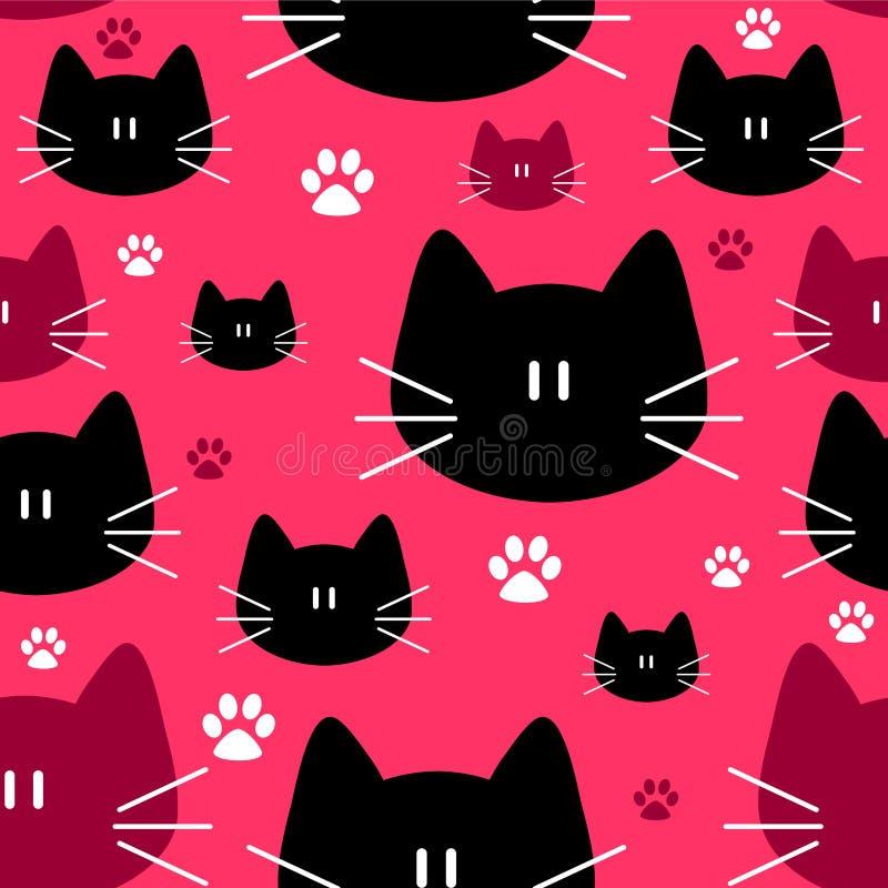 Leuk naadloos patroon met katten royalty-vrije illustratie