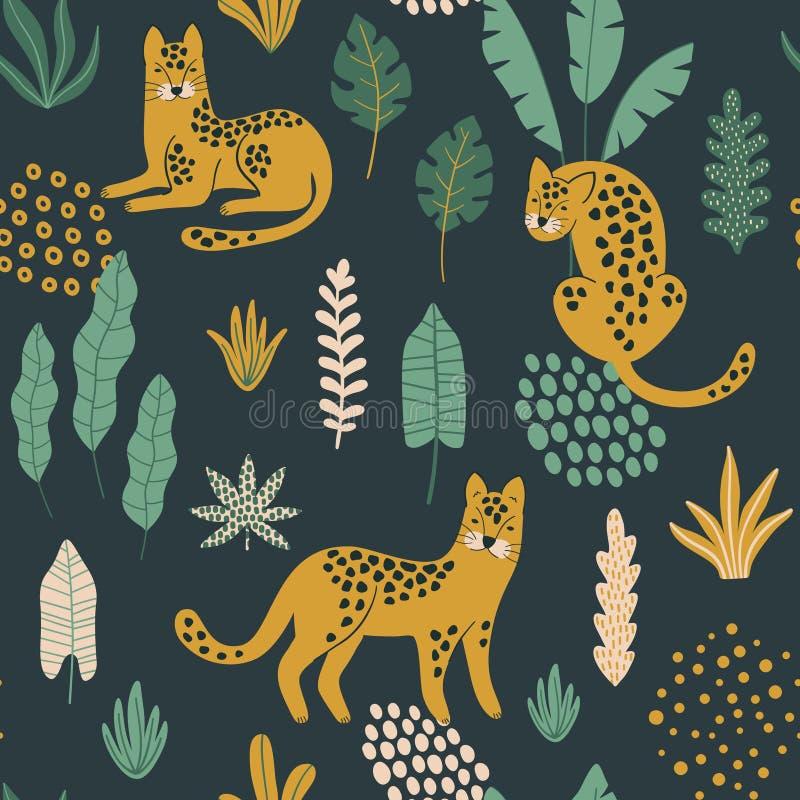 Leuk naadloos patroon met Luipaarden, exotische bladeren en vormen royalty-vrije illustratie