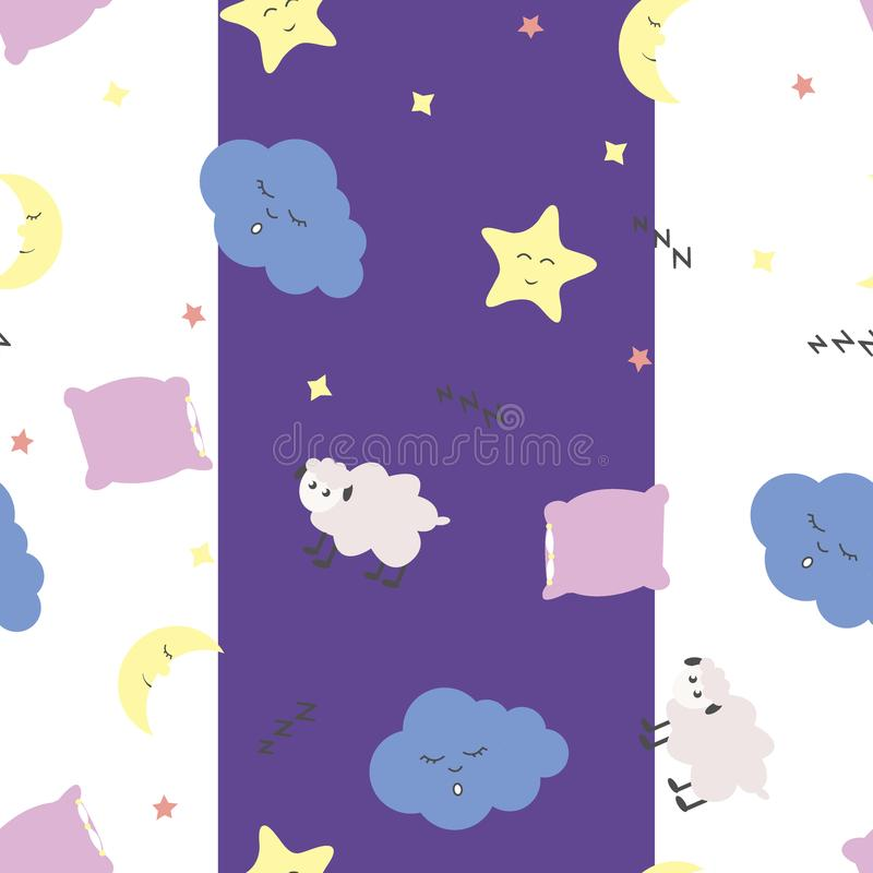 Leuk naadloos patroon met maanhalve maan en sterren, hoofdkussen, schapen en wolken op witte en purpere achtergrond stock illustratie