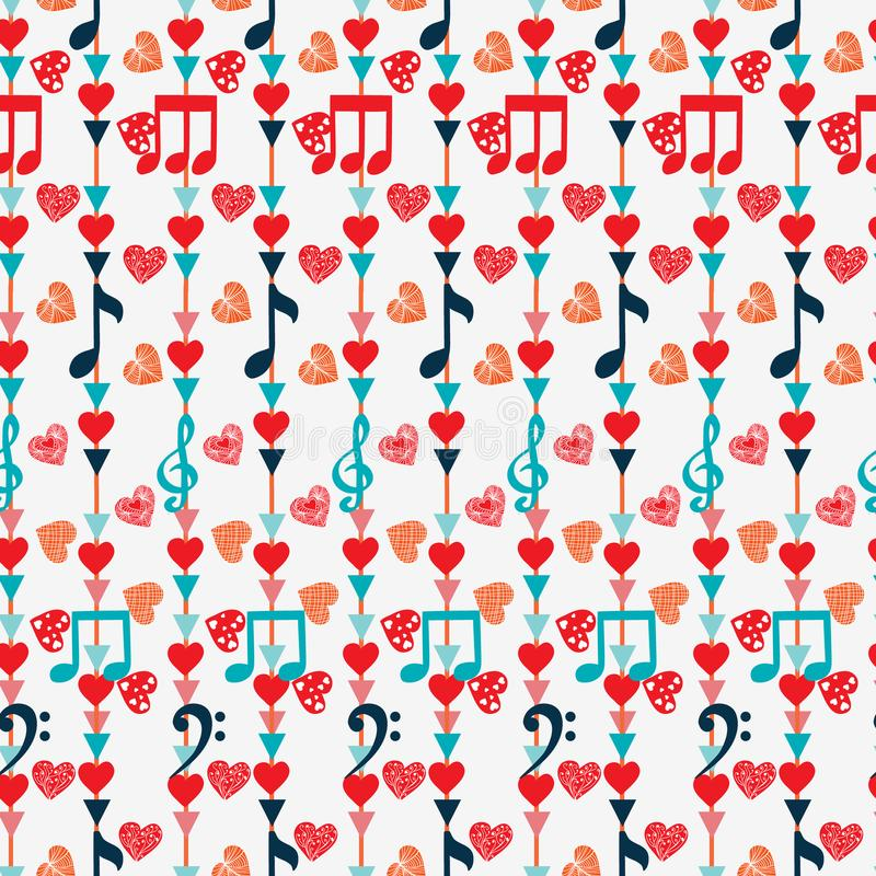 Leuk Naadloos patroon met muzieknota's en harten royalty-vrije illustratie