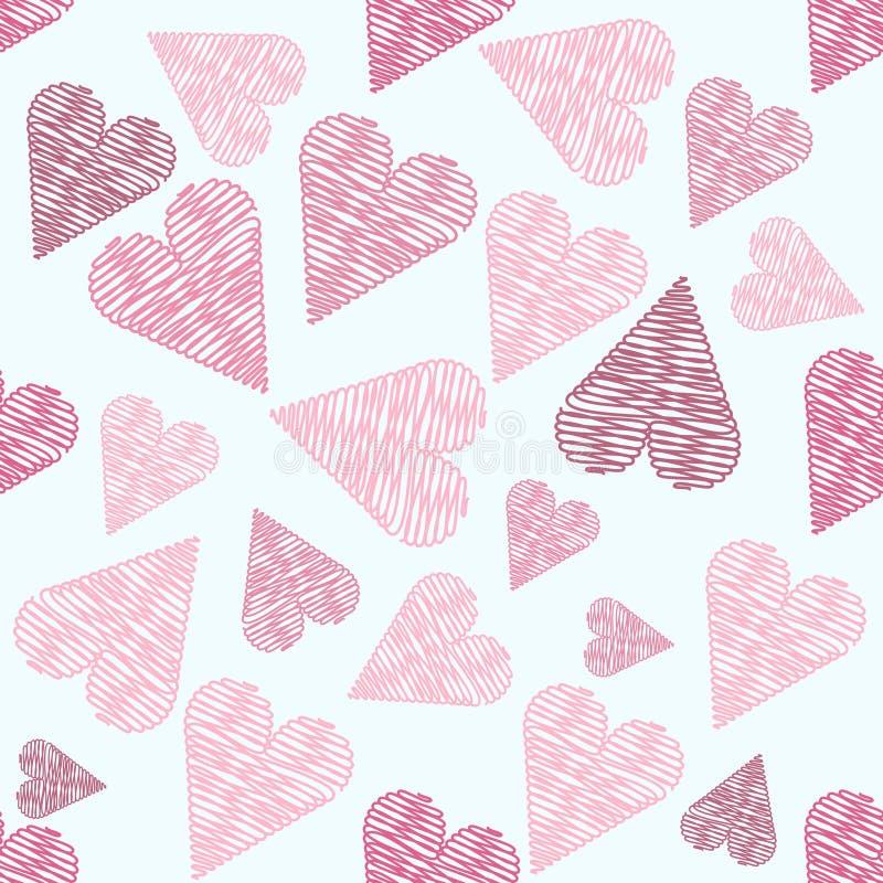 Leuk naadloos patroon met roze harten, achtergrond voor valentijnskaart stock illustratie