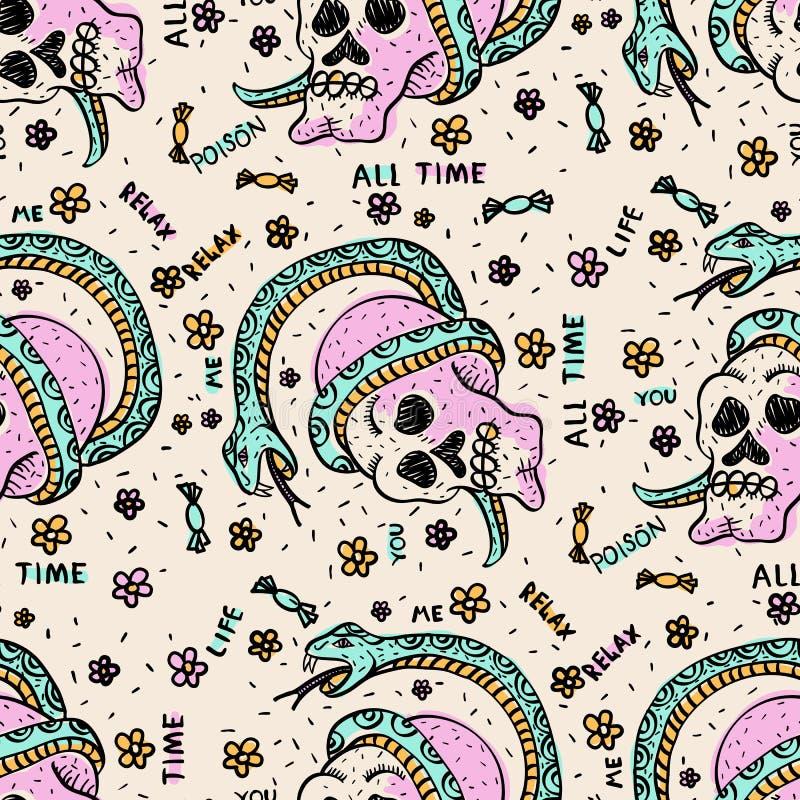 Leuk naadloos patroon met schedels en slangen royalty-vrije illustratie