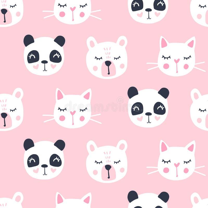 Leuk naadloos patroon met teddybeer, panda, kat De vectorachtergrond van beeldverhaaldieren royalty-vrije illustratie