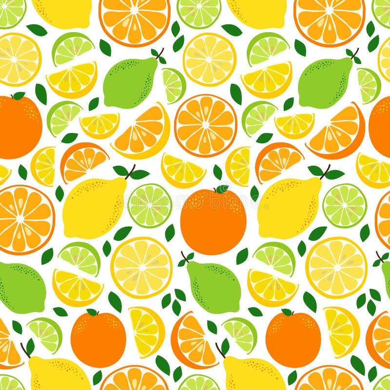Leuk Naadloos Patroon met Verse de Citrusvruchtencitroen, Kalk en Sinaasappel van Limonadeingrediënten in levendige smakelijke kl vector illustratie