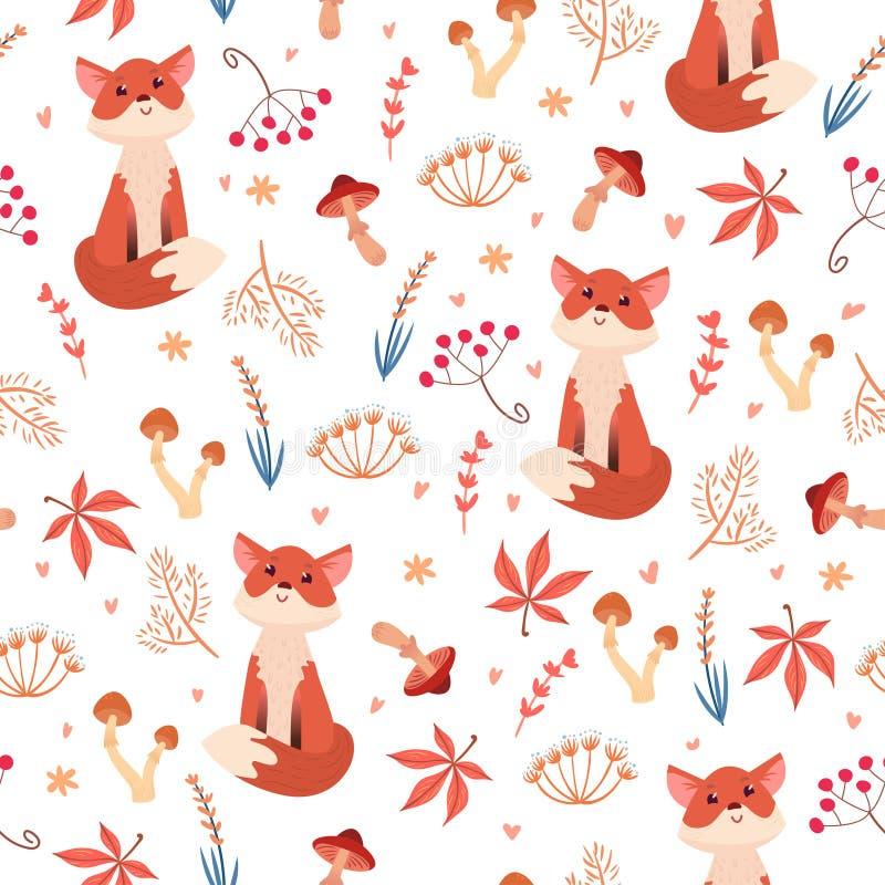 Leuk naadloos patroon met vos in bos vector illustratie