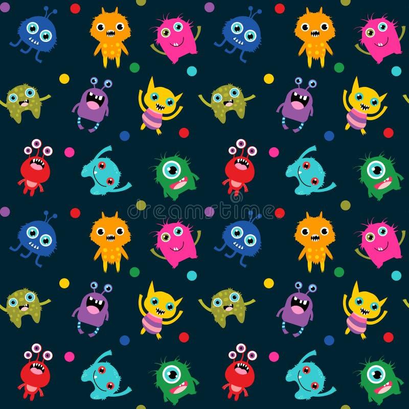 Leuk naadloos patroon met vreemde monsters stock illustratie