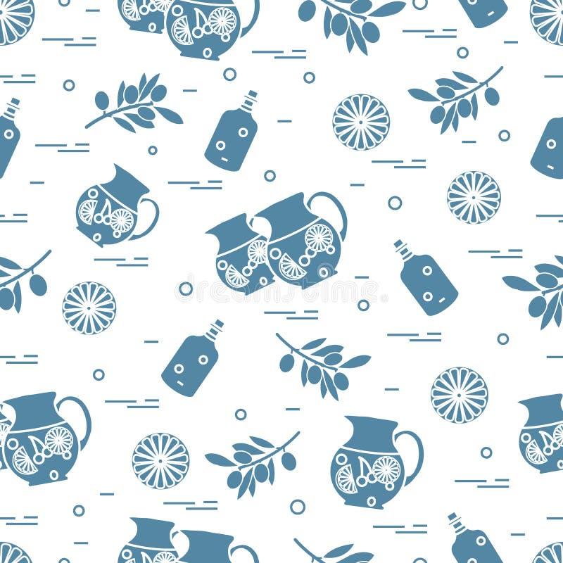 Leuk naadloos patroon met waterkruik van sangria, sinaasappel, fles olijfolie en tak met olijven Reis en Vrije tijd royalty-vrije illustratie
