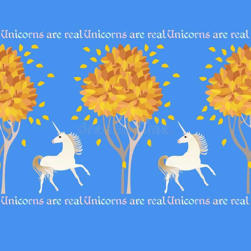 Leuk naadloos patroon met witte eenhoorns, de herfstbomen en decoratieve die teksten op hemel blauwe achtergrond worden ge?soleer vector illustratie