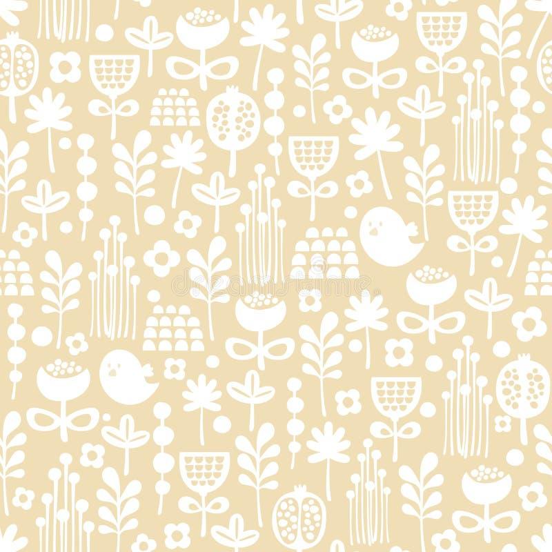 Leuk naadloos patroon van beeldverhaalvogels en flora. stock illustratie