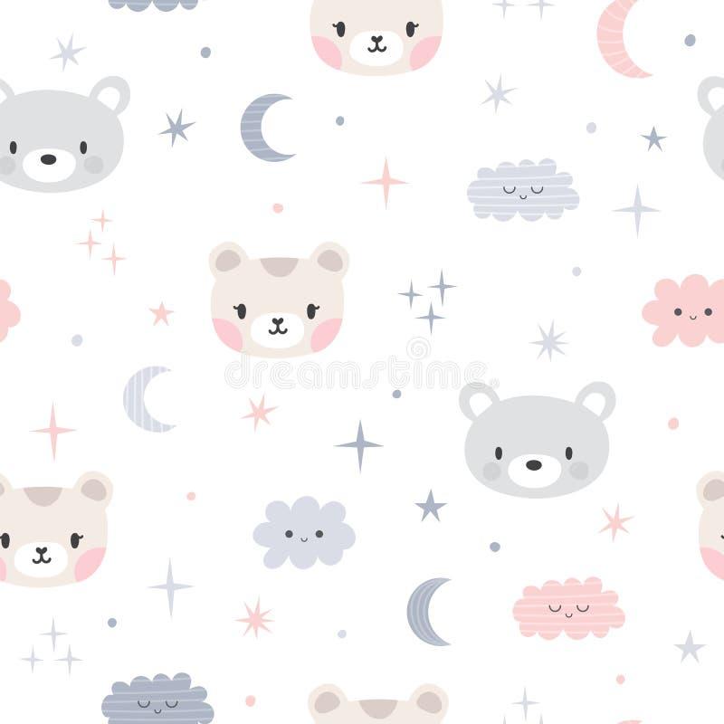 Leuk naadloos patroon voor jonge geitjes met beeldverhaal kleine beren Kinderenachtergrond met maan, sterren en wolken Mooie dier stock illustratie