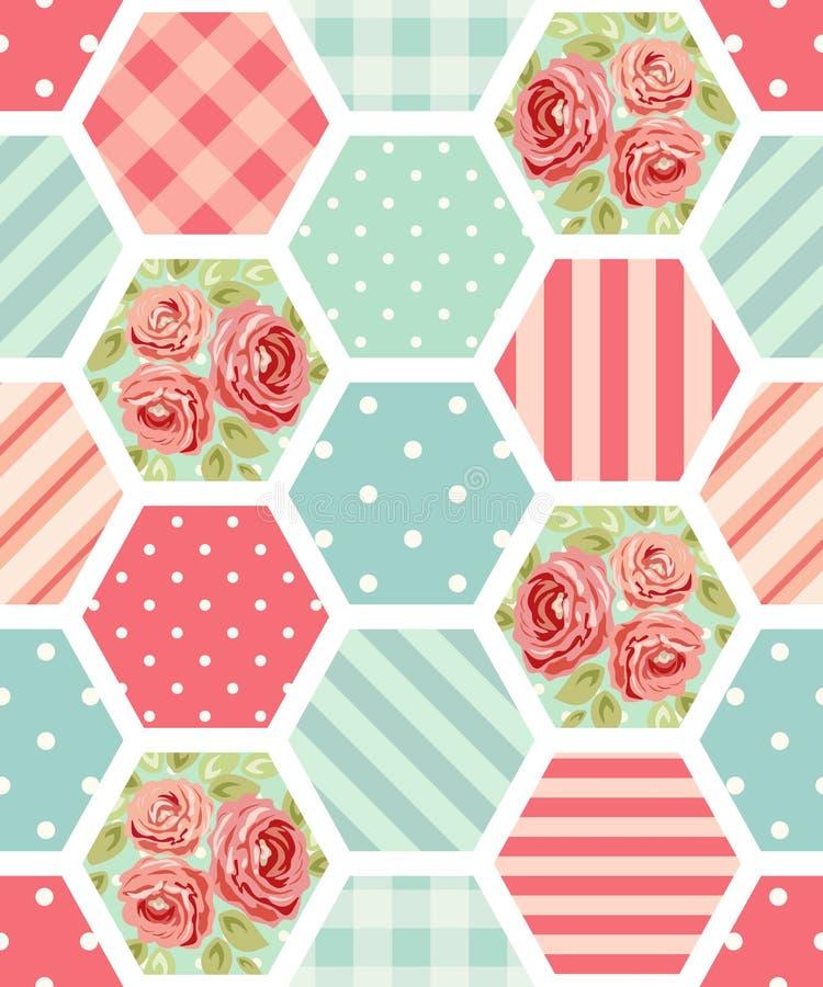 Leuk naadloos uitstekend patroon als lapwerk in sjofel elegant stijlideaal voor van het keukentextiel of bed linnenstoffen vector illustratie