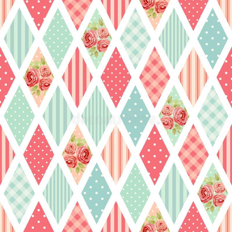 Leuk naadloos uitstekend patroon als lapwerk in sjofel elegant stijlideaal voor van het keukentextiel of bed linnenstoffen royalty-vrije illustratie