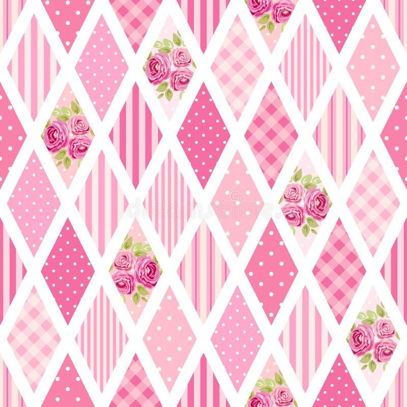 Leuk naadloos uitstekend patroon als lapwerk in sjofel elegant stijlideaal voor van het keukentextiel of bed linnenstoffen stock illustratie
