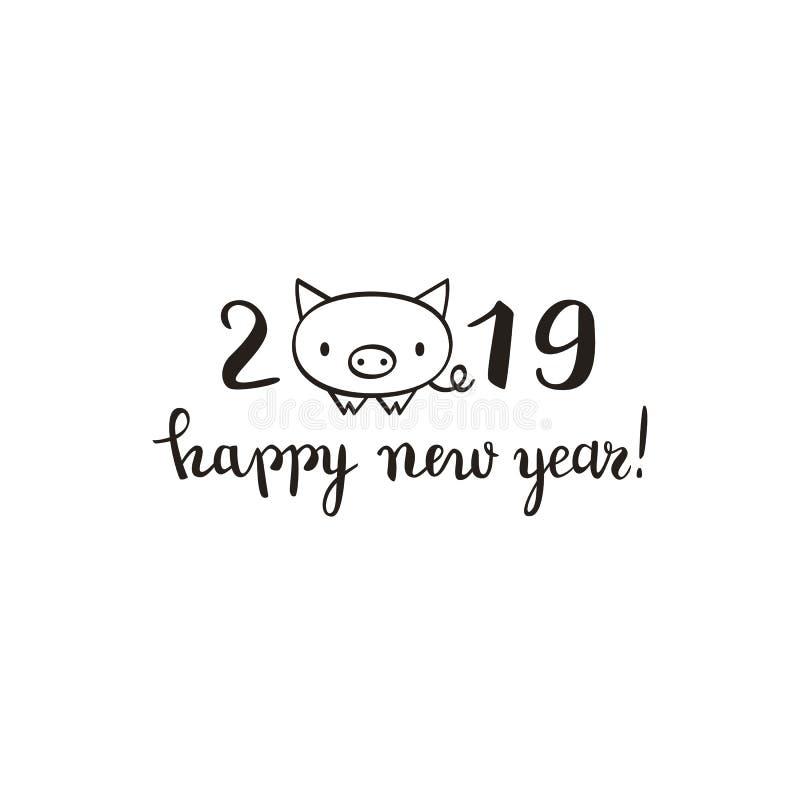 Leuk Nieuwjaar van de varkenskaart, het ontwerp van 2019, borstelpen het van letters voorzien, stock illustratie