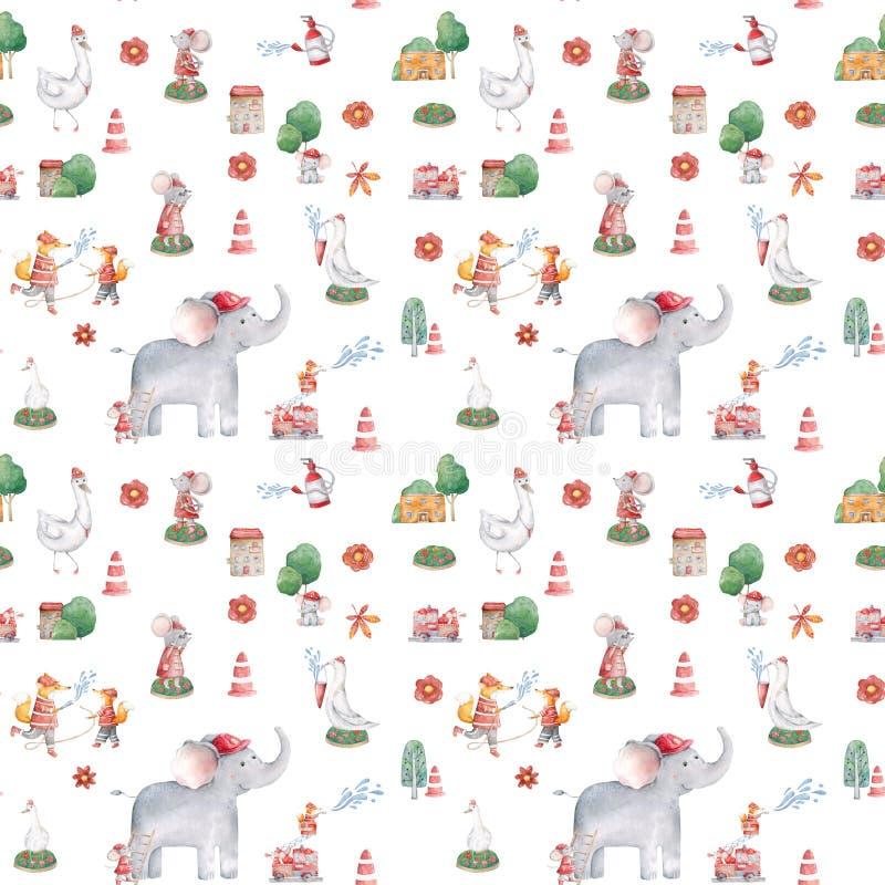 Leuk Olifantspatroon Naadloze achtergrond met het roze karakter van het olifantsbeeldverhaal Minimale baby of kinderen de Tendens royalty-vrije stock foto's