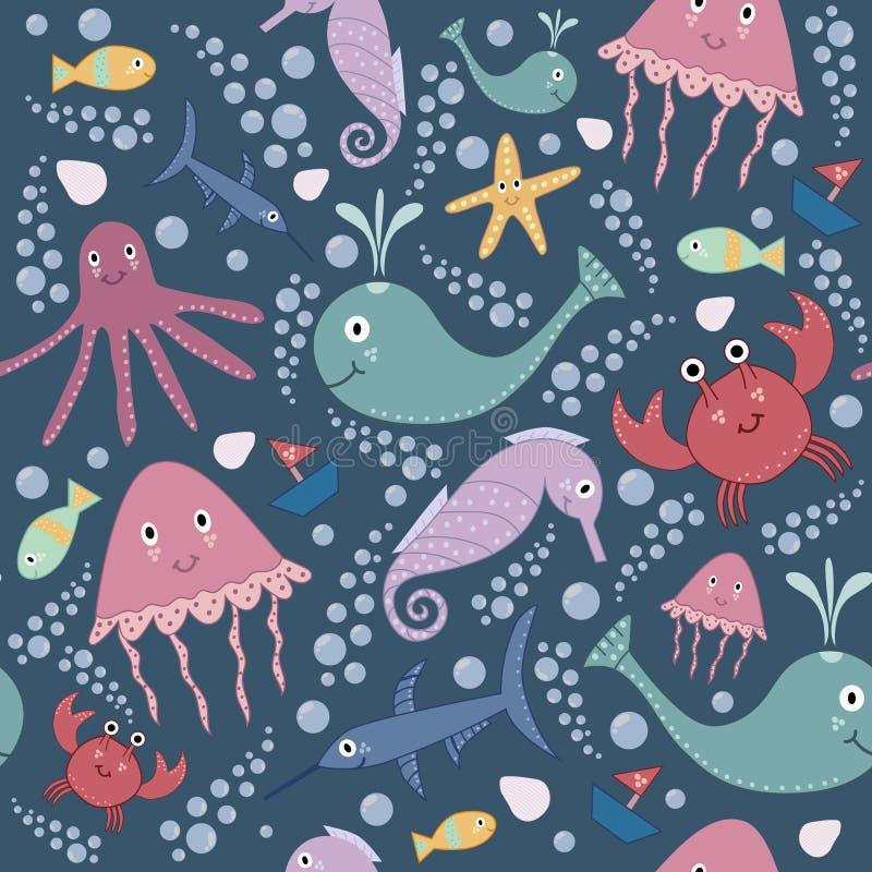 Leuk onderwater naadloos patroon royalty-vrije illustratie