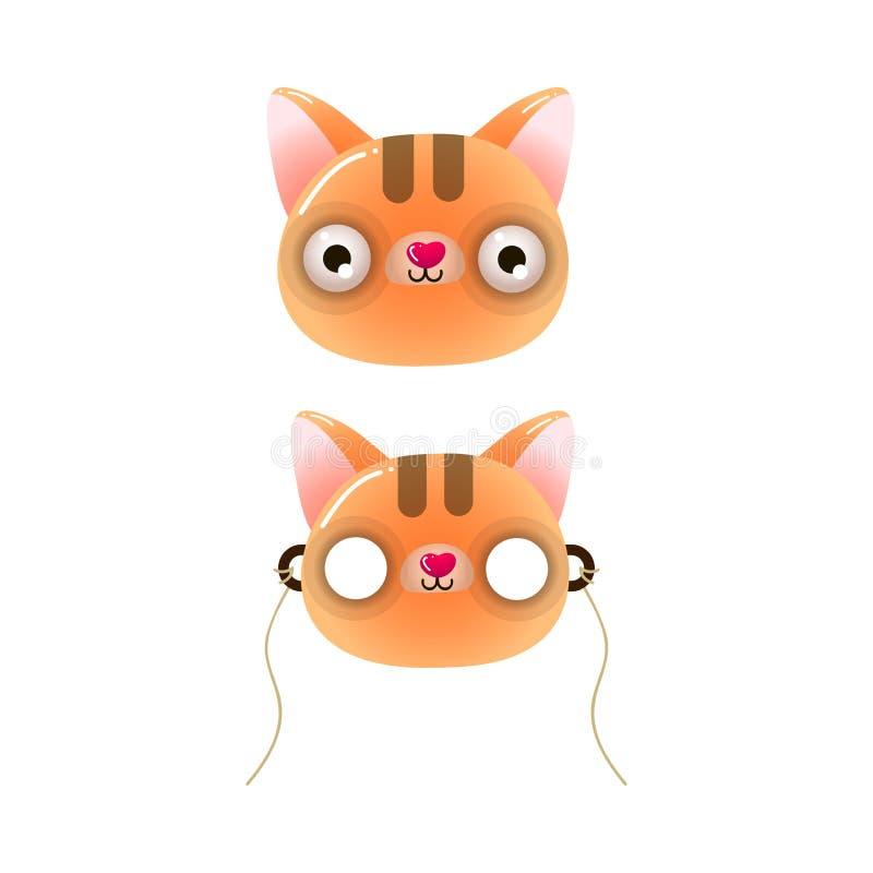 Leuk oranje de kattenmasker van het kleurenjonge geitje met ogen vector illustratie