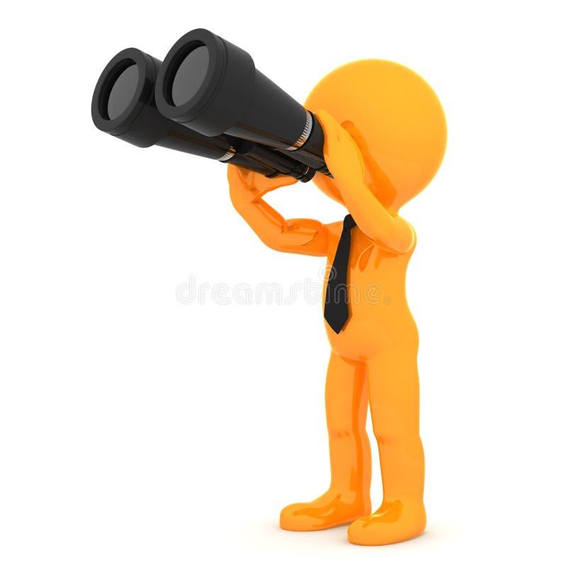 Leuk oranje karakter met verrekijkers stock illustratie