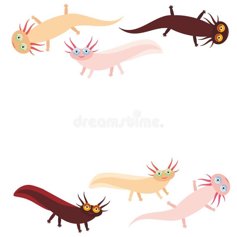 Leuk oranje roze bruin het aquariumdier Axolotl-van het Beeldverhaalkarakter (Mexicaanse salamander, Ambystoma-mexicanum) op witt vector illustratie