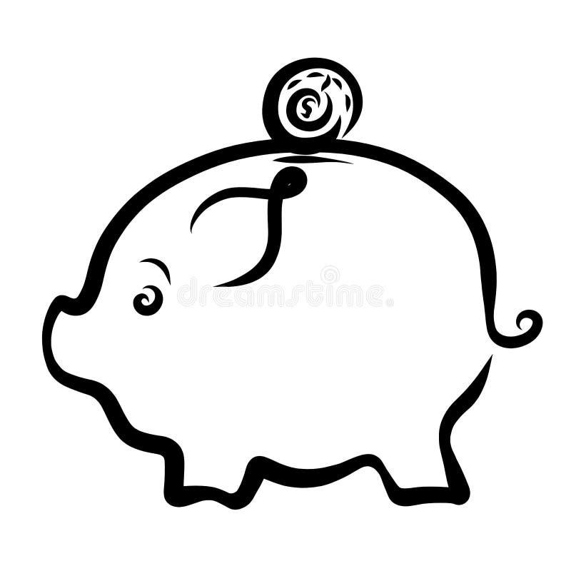 Leuk ovaal spaarvarken en muntstuk, zwarte schets vector illustratie