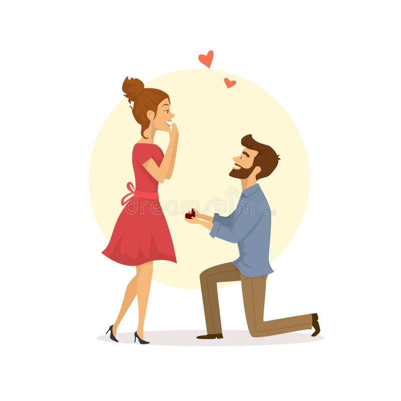 Leuk paar in liefde, man die aan de vrouw het knielen voorstellen royalty-vrije illustratie