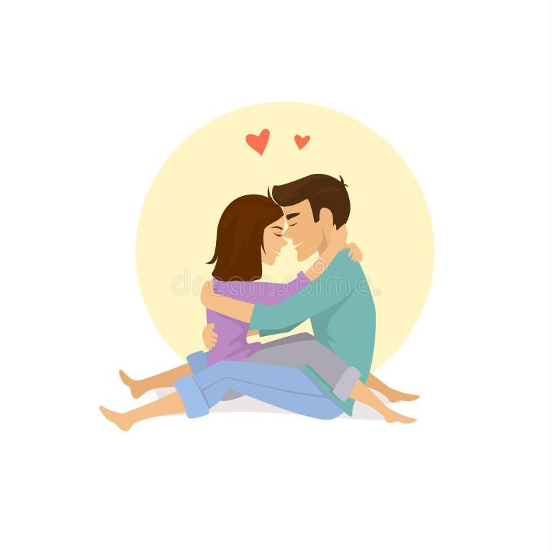 Leuk paar in liefdezitting tegengesteld aan elkaar het koesteren royalty-vrije illustratie