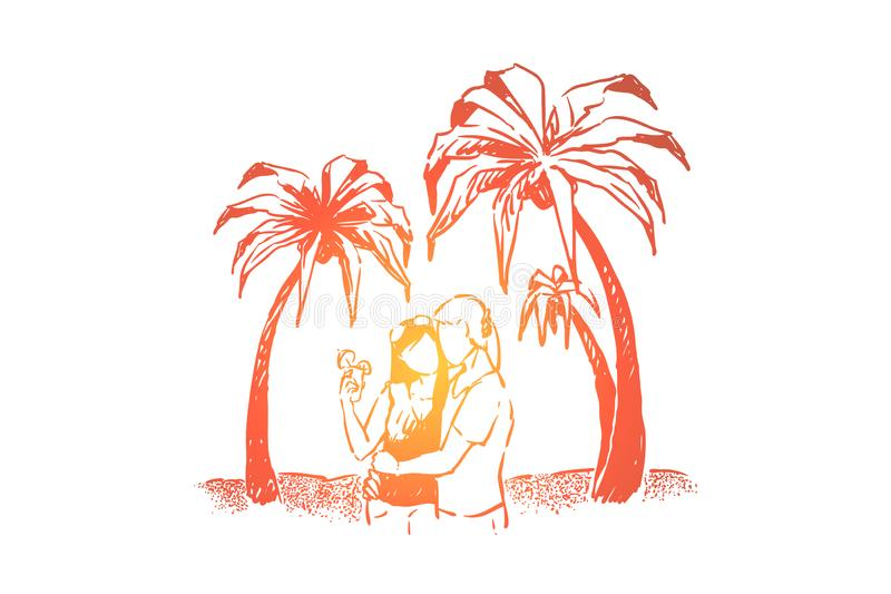 Leuk paar op vakantie samen, de datum van het zomerstrand, kustactiviteit voor minnaars, mensen die op oceanenkust koesteren vector illustratie