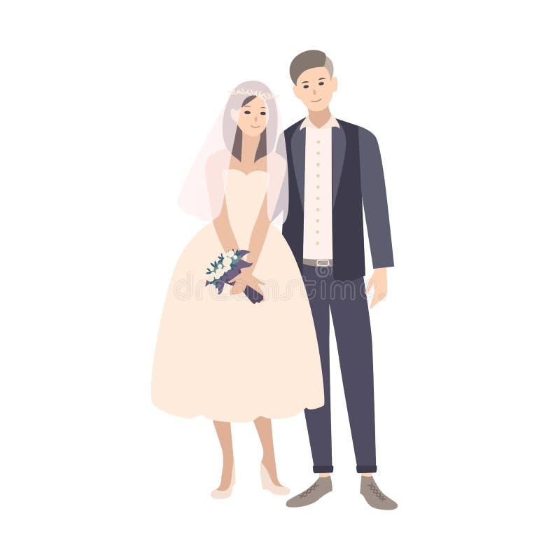 Leuk paar van jonge modieuze bruid en bruidegom gekleed in buitensporige kleding Aanbiddelijke geïsoleerd echtpaar of jonggehuwde royalty-vrije illustratie