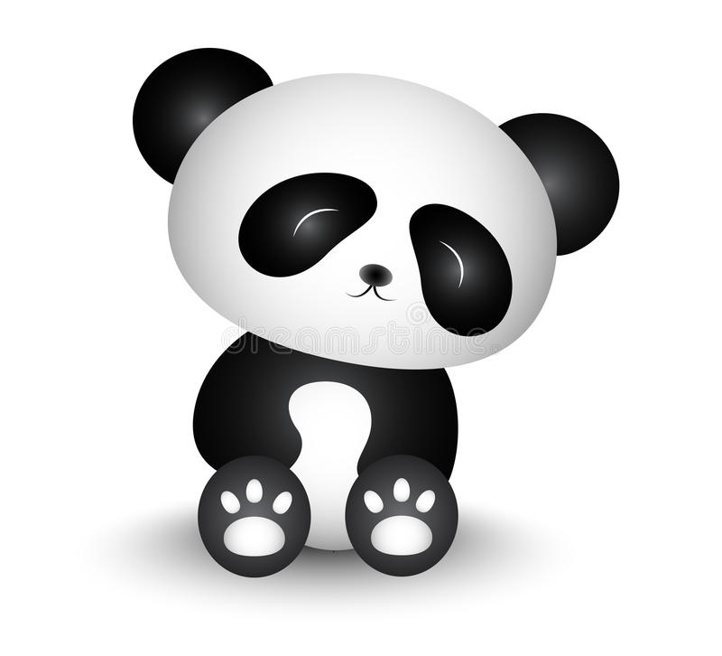 Leuk Panda Cartoon Turned His Head vector illustratie