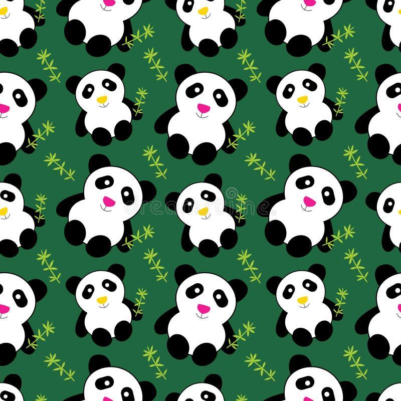 Leuk panda's naadloos patroon stock illustratie