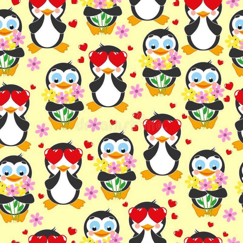 Leuk patroon Liefdepinguïn en pinguïn met boeket van bloemen stock illustratie