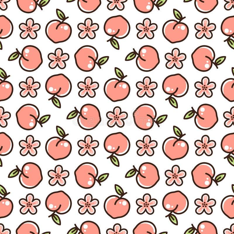 Leuk patroon met perzik en bloemen op een witte achtergrond stock illustratie