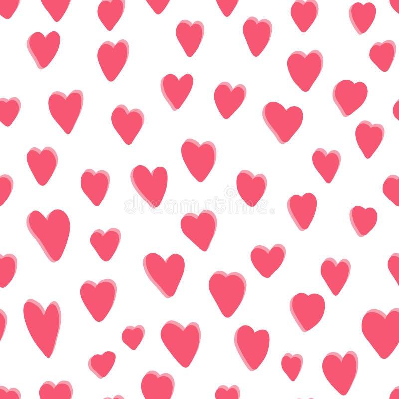 Leuk patroon met roze hand getrokken harten stock illustratie