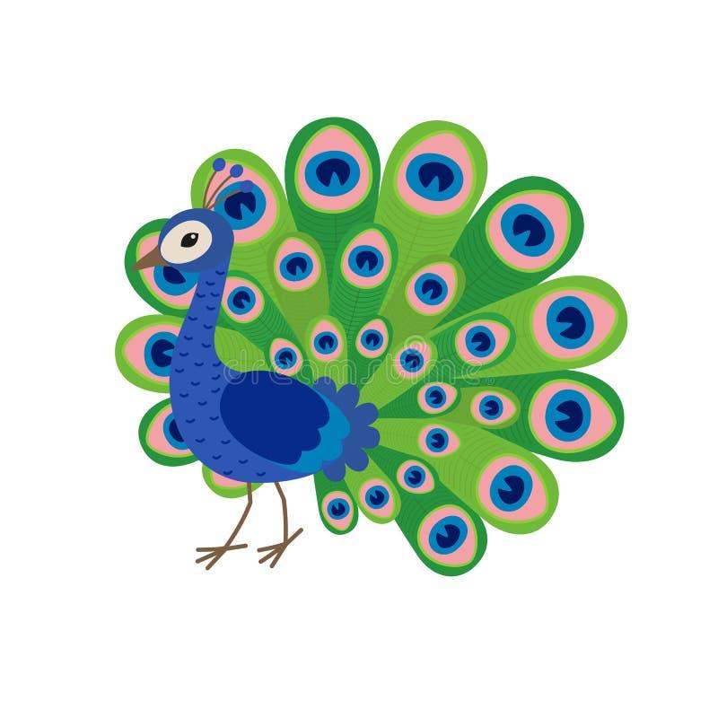 Leuk pauwbeeldverhaal vector illustratie